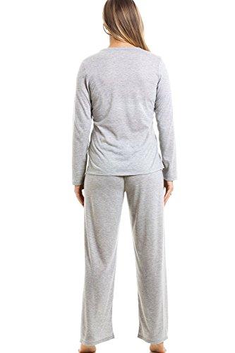 Langarm-Schlafanzug mit langer Hose - Katzenmotiv - Grau Grau