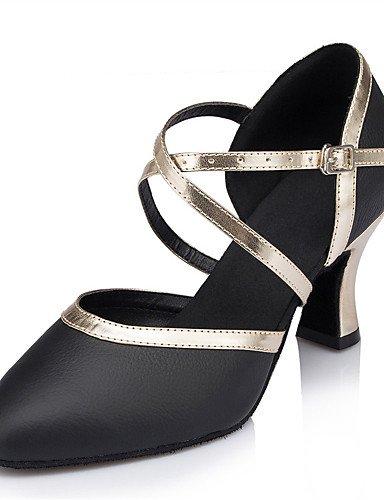 La mode moderne Sandales Chaussures de danse pour femmes personnalisables en cuir Cuir talon aiguille talons Latin noir intérieur US8.5/EU39/UK6.5/CN40