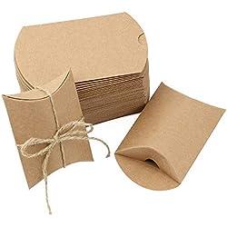 JTDEAL 50 Pièces Boîtes Cadeaux Sacs Cadeaux en Kraft Boîtes de Bonbons avec Corde de Chanvre Vintage pour Mariage Fête Chocolats, Écrous, Sucres, Biscuits, Bonbons