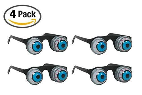 Amorismo Halloween Gläser Augapfel Brille mit Federn herrausspringende Augen