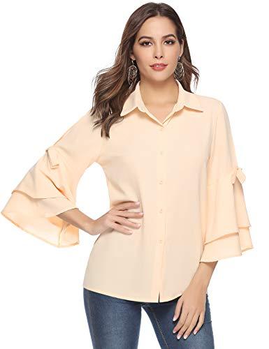 Aibrou Damen Chiffon Bluse 3/4 Arm Langarmshirt Casual Elegant Hemd Oberteil Tops Shirts mit Volant Trompetenärmeln