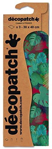 Decopatch Papier No. 756 (grün rot Blätter, 395 x 298 mm) 3er Pack