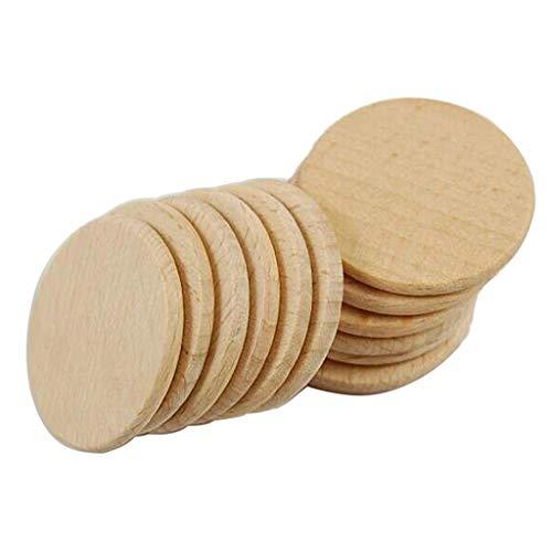 B Baosity 50 Stücke Natürliche Runde Holzscheiben, Holz Log Scheiben für DIY Handwerk Hochzeit Mittelstücke
