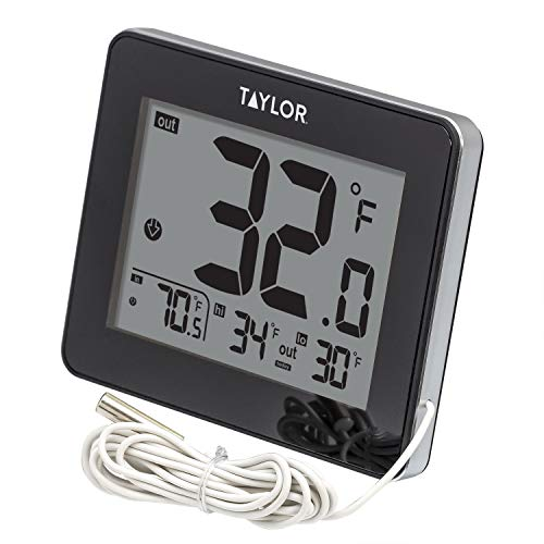 Taylor Wired Digital Indoor/Outdoor Thermometer, Black by Taylor -