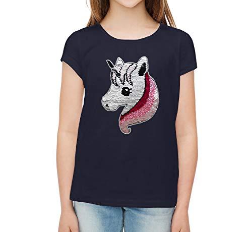 Unicornio Lentejuelas Camiseta para niña Camiseta de Manga Corta (10 años, Azul Marino)