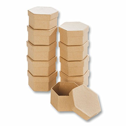 Creleo 790260 Papp-Boxen Sechseck Bastelboxen mit Deckel, 10 Stück, 7,5 x 6,5 x 4 cm