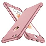 ORETECH Funda iPhone 6 Plus/6s Plus, con [2X Protector de Pantalla de Vidrio Templado 360 Carcasa iPhone 6/6s Plus Case Silicona Ligera Delgado PC + TPU Bumper Rubber Caso para iPhone 6 Plus-Oro Rosa
