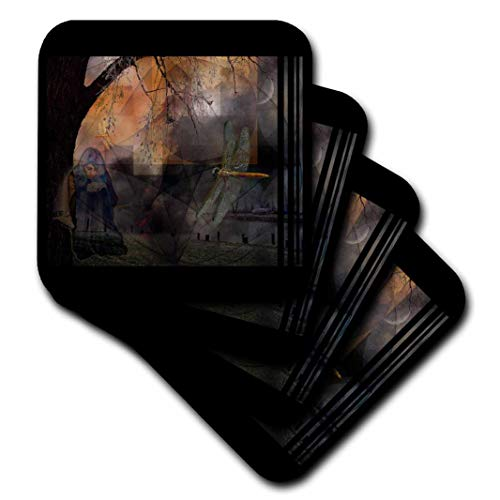 mimulux dunklen Fantasy Kunst–Dream Träger Dream Dreaming Traumlandschaft Mythologie Libelle Tiere Myth poweranimal Mystic–Untersetzer, keramik, set-of-4-Ceramic