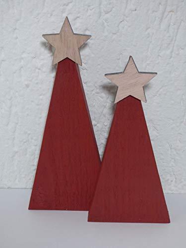 2 x Weihnachtsbaum Design nachhaltig Altholz Upcycling geometrisch Holzweihnachtsbaum Tannenbaum Weihnachten Christbaum Advent Weihnachtsdeko Palettenholz rot Stern