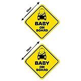 Autodomy Pegatinas Baby On Board Bebé a Bordo Baby in Car Pack 2 Unidades Uso Externo para Coche (Uso Externo)
