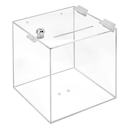 Losbox aus Acrylglas mit Schloß in 200x200x200mm - Zeigis® / Spendenbox/Aktionsbox / Gewinnspielbox/transparent / durchsichtig/Acryl / Plexiglas® / abschließbar