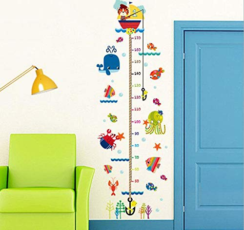 JUNDY Angeln Höhe Aufkleber Kinderzimmer Klassenzimmer Kindertag Maßband Selbstklebende Höhe Höhe Wasserdichte Aufkleber 60cm * 90cm L Angeln Karte Diagramm