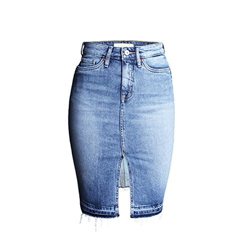 LAEMILIA Damen Jeansrock Hohe Taille Bleistift kurzen Minirock Slim Fit Used-Look Quaste Beiläufig Denim Rock (Denim-bleistift-rock Bleistift)
