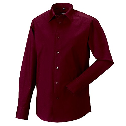 Russell Collection Long sleeve easycare fitted shirt Port