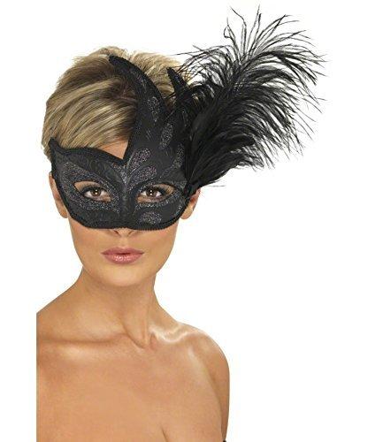 Maskenball Feder Maske (Venezianische Maske mit Feder Augenmaske Schwarz Ballmaske Venedigmaske Federmaske Maskenball Karneval)