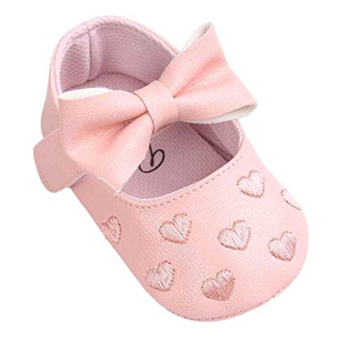 Baby Mädchen Krabbelschuhe mit Klettverschluss PU-Leder Schuhe Anti-Rutsch Weiche Sohle Kleinkind Schuhe Lauflernschuhe Bowknot Sneaker babyschühchen URSING 0~18 Monate (0~6M, Rosa)