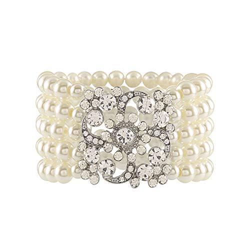 Metme 1920er Jahre Flapper Armband Stretch Armreif Simulierte Perle Kristall Armband Great Gatsby Jewelry Zubehör (Flapper-girl Jahren 1920er)