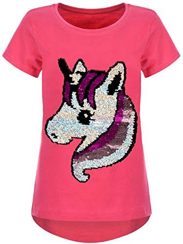 Kmisso Kinder Mädchen T-Shirt Einhorn Motiv Wende-Pailletten Shirts Oberteil Bluse 30060 Pink 146