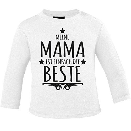 Mikalino Baby Longsleeve Meine Mama ist Einfach die Beste, Farbe:Weiss;Grösse:92/98 - Armee Mom Weißes T-shirt