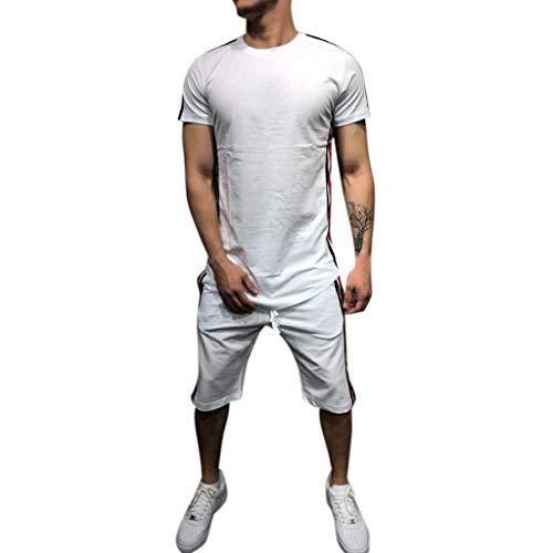BHYDRY Herren Sommer Freizeit Streifen Farbe Kollision Kurzarm Shorts Sport dünne Sätze -