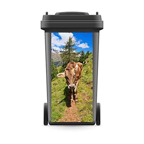 WERBEPUNKT. Mülltonnenaufkleber Mülltonne Mülleimer Abfalltonne Kuh Alpen Berge Weg Natur- 740 x 370 mm