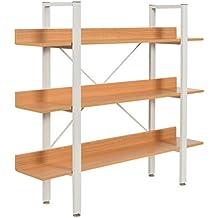 ts-ideen Estantería alta Fibra de madera marco de metal blanco repisas con apariencia de haya 107,5 x 120