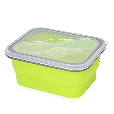 Anself Collapsible Lunch Box Meal Box with Cover Retractable Picnic Lunchbox Microwave Box 600ml Eco-Friendly Foldable Food Container Fruits Bowl
