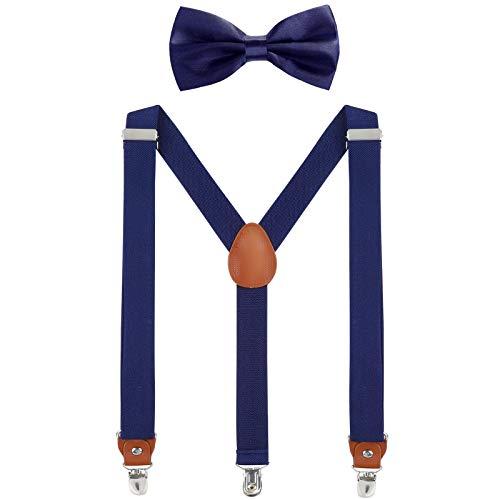 WELROG Herren Hosenträger Fliege Set - Solide Farbe Elastisch Y Gestalten mit Stark Clips Verstellbare Hosenträger (Navy blau) -