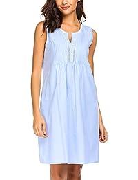 e7ed160c37c3ac Kisshes Damen Baumwolle Nachthemd Ärmelloses Nachtkleid Kurze Nachtwäsche  Sommer Schlafhemd Mini…