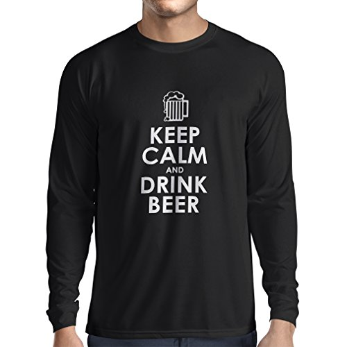 lepni.me Long Sleeve t Shirt Men Keep Calm and Drink Beer - Getting Drunk Humorious Quotes, Funny Alcohol Gifts