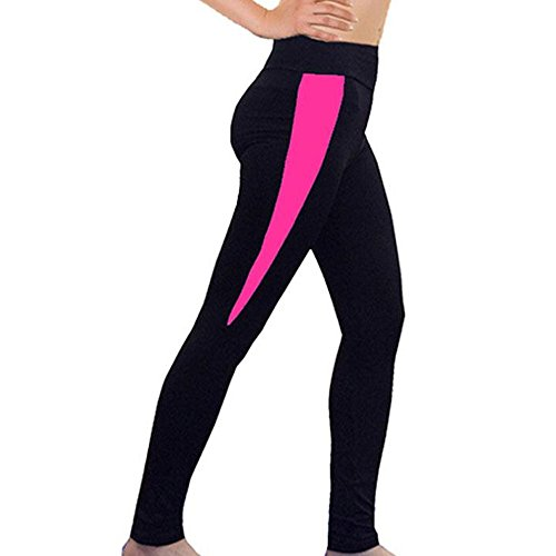 wlgreatsp Femmes Pantalon de yoga GYM course à pied joggings Fitness Leggings Slim Pantalon d'entraînement Rose rouge