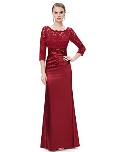 Ever Pretty Damen Elegant 3/4 Arm Lace Lange Abendkleider 44 Weinrot EP09882BD12 (Elegantes Kleid Satin)