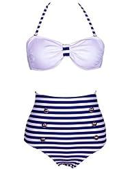 Damen Bikini-Set, Vintage-Stil, hohe Taille, Retro