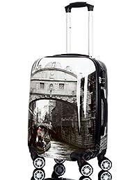 Gloria Kaos - Trolley Cabina Per Voli Come EasyJet & C. - Bagaglio a Mano In Policarbonato Flessibile Ultraleggero - Fantasia Venezia 55cm