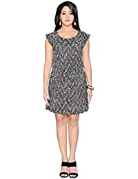 THINC PRINTED BLACK TUNIC DRESS WITH ZIPPER DETAILLING