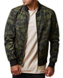 EightyFive Herren Bomberjacke Übergangsjacke Schwarz Khaki Rot Camouflage EFS150, Größe:S, Farbe:Camouflage Green