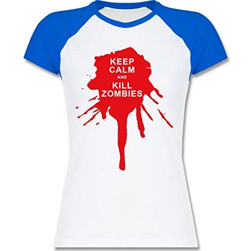 Shirtracer Keep Calm - Keep Calm and Kill Zombies - Zweifarbiges Baseballshirt/Raglan T-Shirt für Damen Weiß/Royalblau