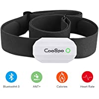 CooSpo Heart Rate Sensor Monitor Bluetooth 4.0 ANT+ with Chest Strap works with Zwift Elite Training iCardio DDP Yoga concept2 pm5 Sport Watch- White