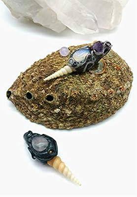 Pendentif coquillage turitelle pierre gemme