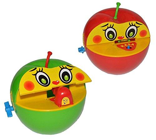 Preisvergleich Produktbild 2 Stk. Spardose Apfel mit Wurm - mit BEWEGUNG - beim Geldeinwerfen - Sparbüchse Sparschwein für Kinder Apfelspardose