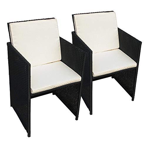 Indoba 2 x Designer Gartenstuhl Set Polyrattan schwarz inkl. Sitzauflagen Holz Garten Stuhl Sessel