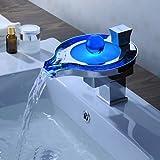 Furesnts moderne Home Küche und Bad mit Farbwechsel LED Wasserfall Wasserhahn im Waschbecken im Bad Armaturen,(Standard G 3/8 Universalschlauch Ports)