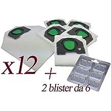 Bolsas de microfibra + ambientador para aspiradora Kobold Vorwerk VK200 y VK201 12 Sacchetti + 12