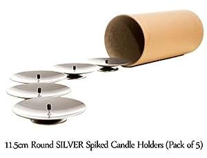 runder kerzenhalter mit dorn 11 5 cm durchmesser silberfarben 5 st ck k che. Black Bedroom Furniture Sets. Home Design Ideas