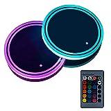 LayOPO Lot de 2 Supports de gobelets LED colorées pour Voiture Imperméable pour Bouteilles, Boissons, Dessous-de-Verre intégré, Mini USB Rechargeable pour intérieur de Voiture, télécommande