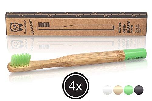 Weiche Bambus-Zahnbürste für Kinder | 4er Pack GRÜN | Für eine schönere und bessere Welt! - 2