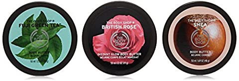 Der Body Shop Herzförmige Geschenk-Set von Körper Butters 50ml-britischen Rose-Shea-Fuji Grüner Tee / The Body Shop Heart Shaped Gift Set of Body Butters 50ml-British Rose-Shea-Fuji Green Tea