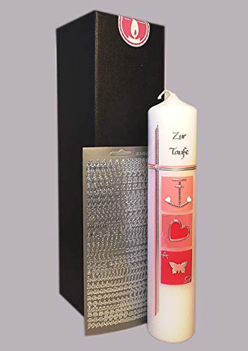 Taufkerze für Mädchen/Rosa/Glaube, Hoffnung, Liebe / 300x60 mm/Zubehör zum selbstbeschriften dabei/Verpackungskarton kann für die Aufbewahrung der Kerze später benutzt werden/Handarbeit