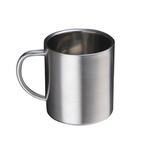 MagiDeal Bierkrug, Edelstahl Kaffeetasse, Tee/Bier/Kaffee/latte/Milch Tasse, Edelstahl Becher Mit Griff für Reise Wandern - Silber, 400ml