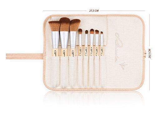 Schminkpinsel-Set Vegan von Luvia Cosmetics – 8 Make-Up Pinsel im Pinselset mit nachhaltigen Bambus-Griffen und einer Pinseltasche – Tierversuchsfreie Kosmetik - 5